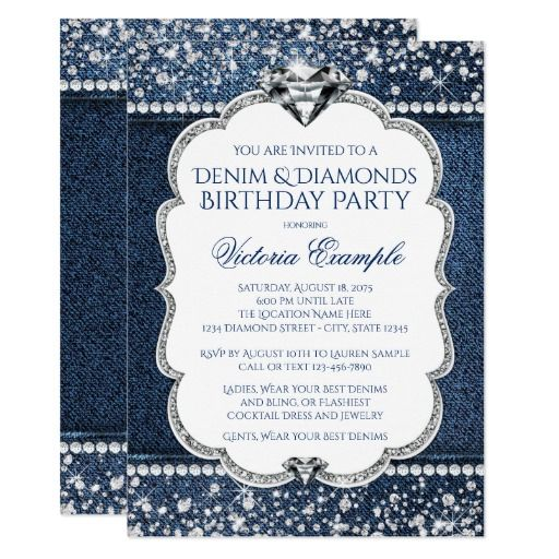 Denim and Diamond Bling Birthday Party Invitations denim and - best of sample invitation to birthday party