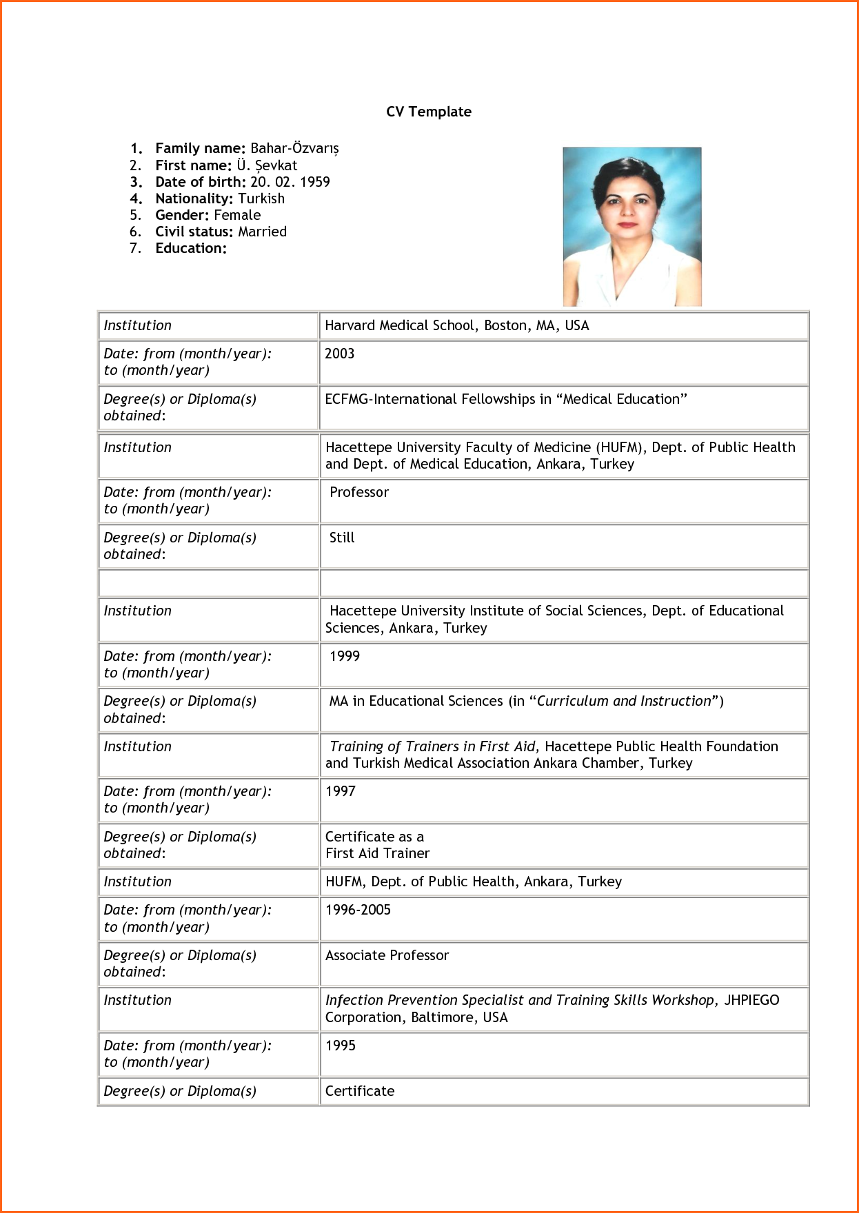 8+ sample of curriculum vitae for job application pdf