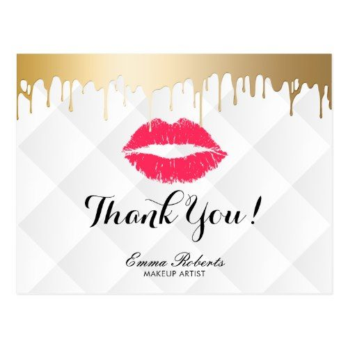 Makeup Artist Gold Drips Red Lips Classy Thank You Postcard
