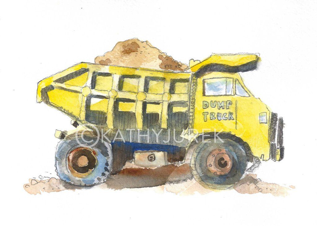 Yellow Dump Truck Print #2 | Dump trucks, Color walls and Watercolor ...