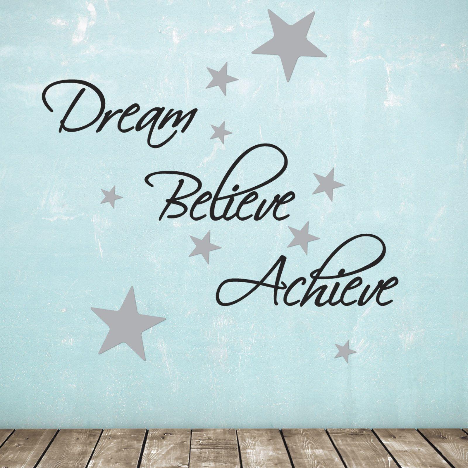 Dream Believe Achieve Wall Sticker With 60 Silver Stars