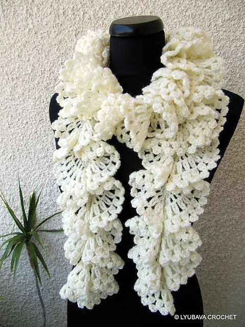 Marvellous Ruffle Lace Scarf Tutorial pattern by Lyubava Crochet ...