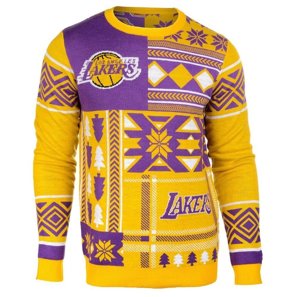 New$75 Mens(Med) LOS ANGELES LAKERS UGLY CHRISTMAS SWEATER Yellow&Purple NBA  LA #