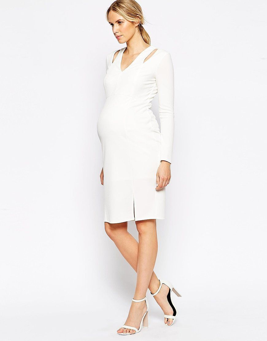 92b4c77f2259f Maternity Textured Crepe Bodycon Dress Plunge Neck | Maternity ...