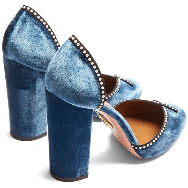 83d15647427 Aquazzura Lou Lou 110 embellished block-heel velvet pumps ( 510) ❤ liked on  Polyvore featuring shoes