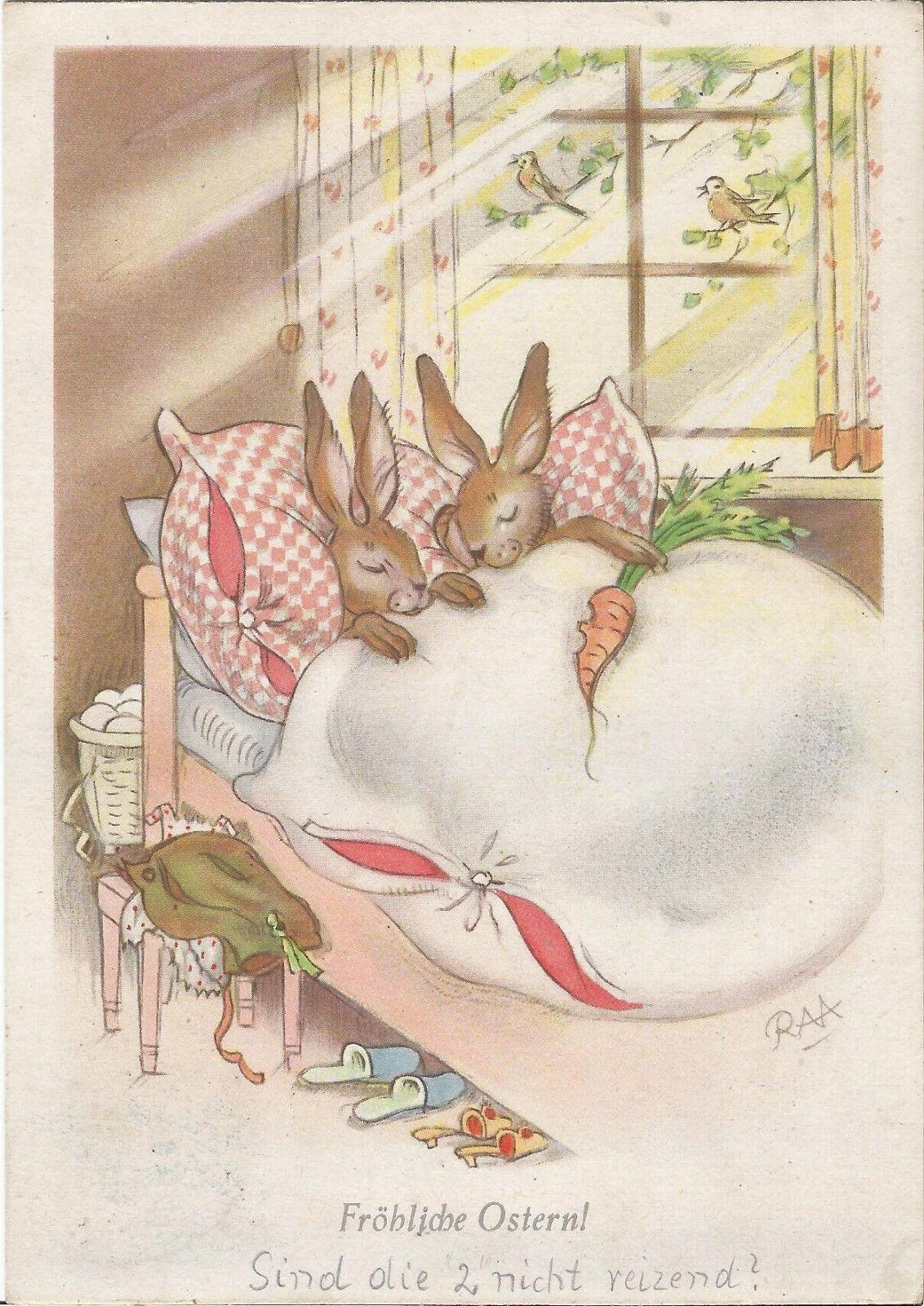 Ostern, Hase, personifizerter Osterhasen im Bett, Charlotte Baron RAA, Ak | eBay
