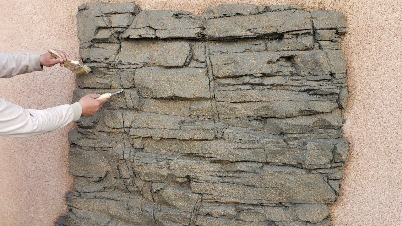 Como Hacer Un Muro Llorón Con Cemento En Figura De Piedra Granito How T Muros De Piedra De Imitación Paredes De Cemento Paredes De Concreto