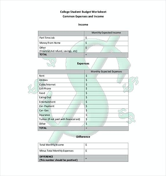 college budget worksheet , College Budget Template , College Budget