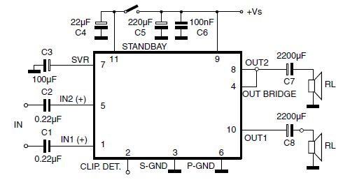 TDA7360 Stereo Amplifier Test and Application Circuit Diagram and ...
