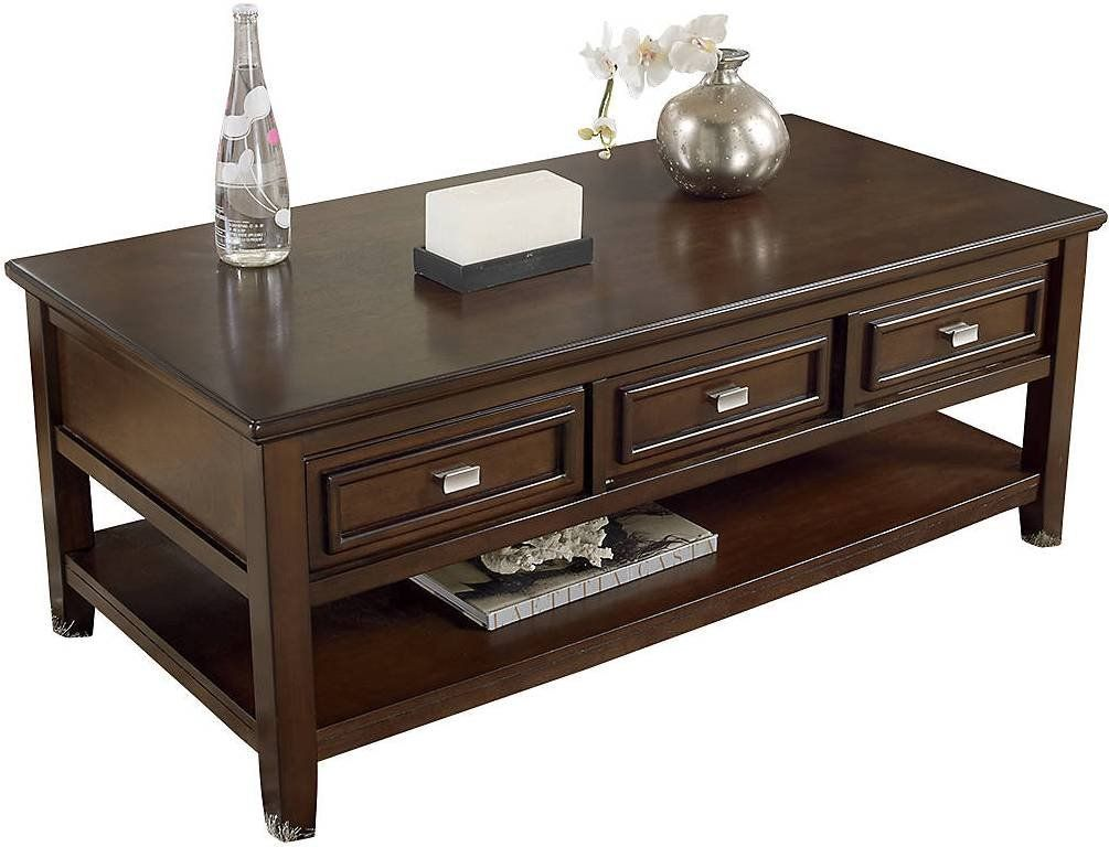 Ashley larimer rectangular coffee table with drawers in