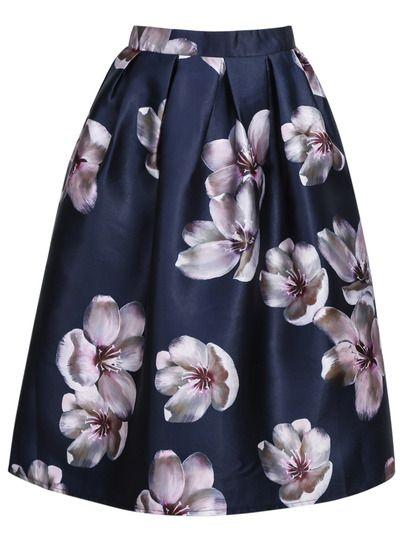jupe vas e motif fleuri zipp bleu marine boulot. Black Bedroom Furniture Sets. Home Design Ideas