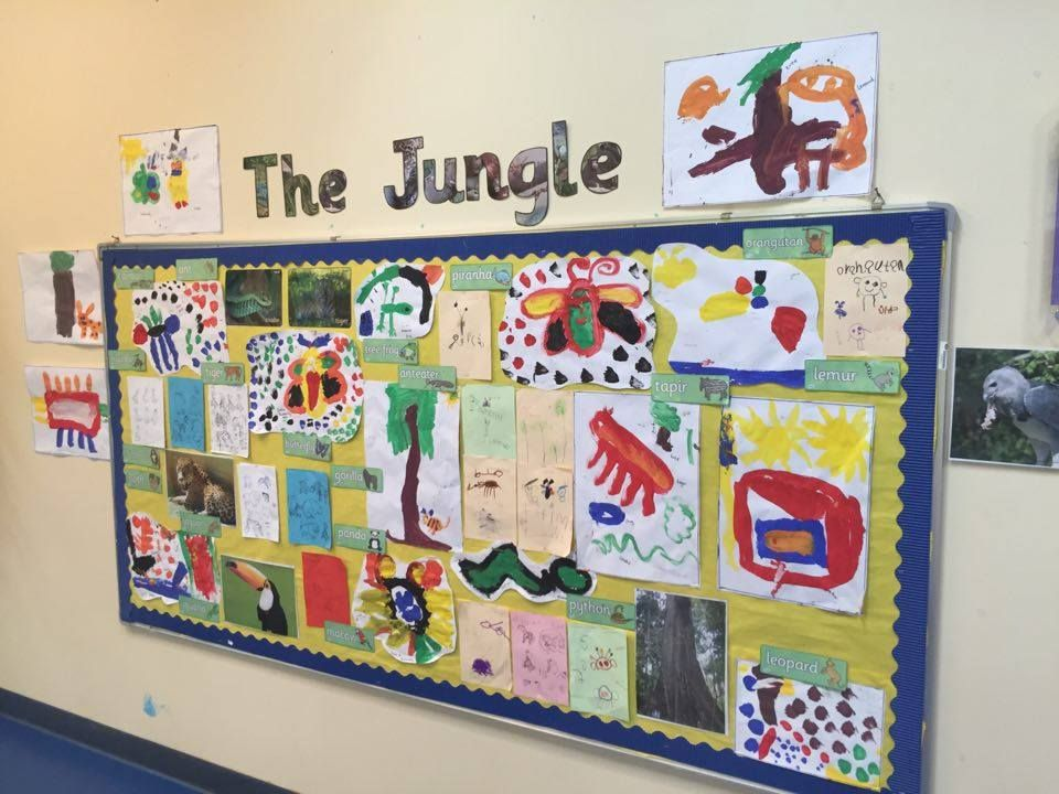 The Jungle display using Twinkl resources Ks2 display