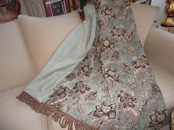 Jacobean Floral, Custom Throw Blanket, Blue Aqua Turquoise, Chenille Throws,  Luxurious Designer Throw, Tapestry Throw, Sofa Throw, Bedding