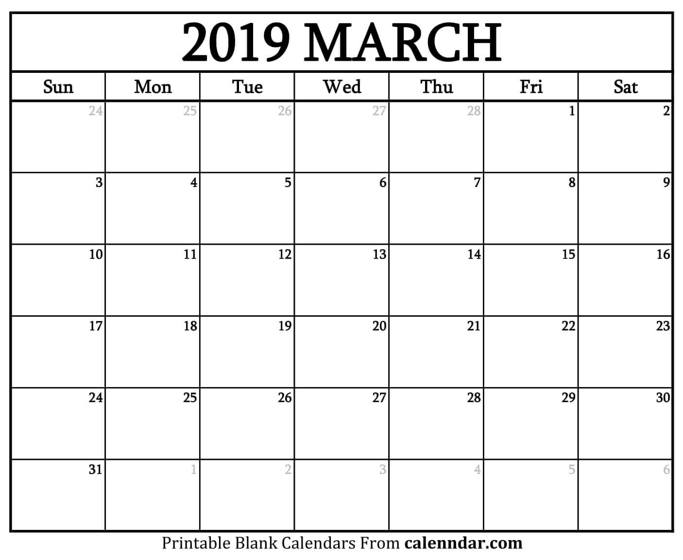 March 2019 Printable Blank Calendar Free March 2019 Calendar