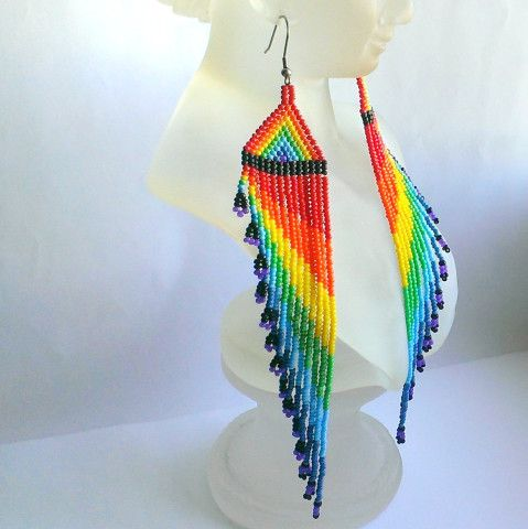 Extra Long Rainbow Earrings Dangle Seed Bead With Fringe Very