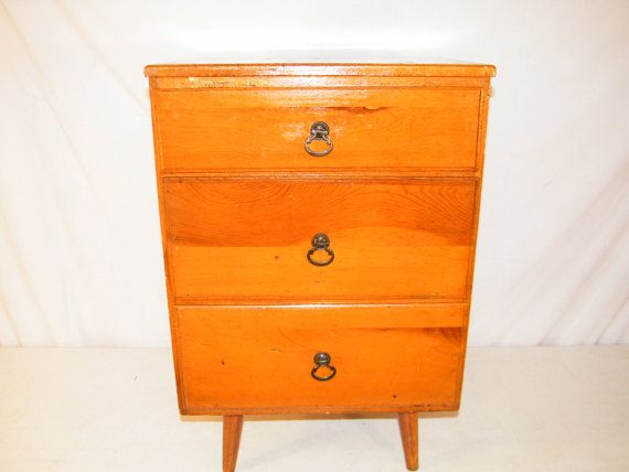 ANTIQUE 1950's MASTERCRAFT mid century modern 3 drawer ...