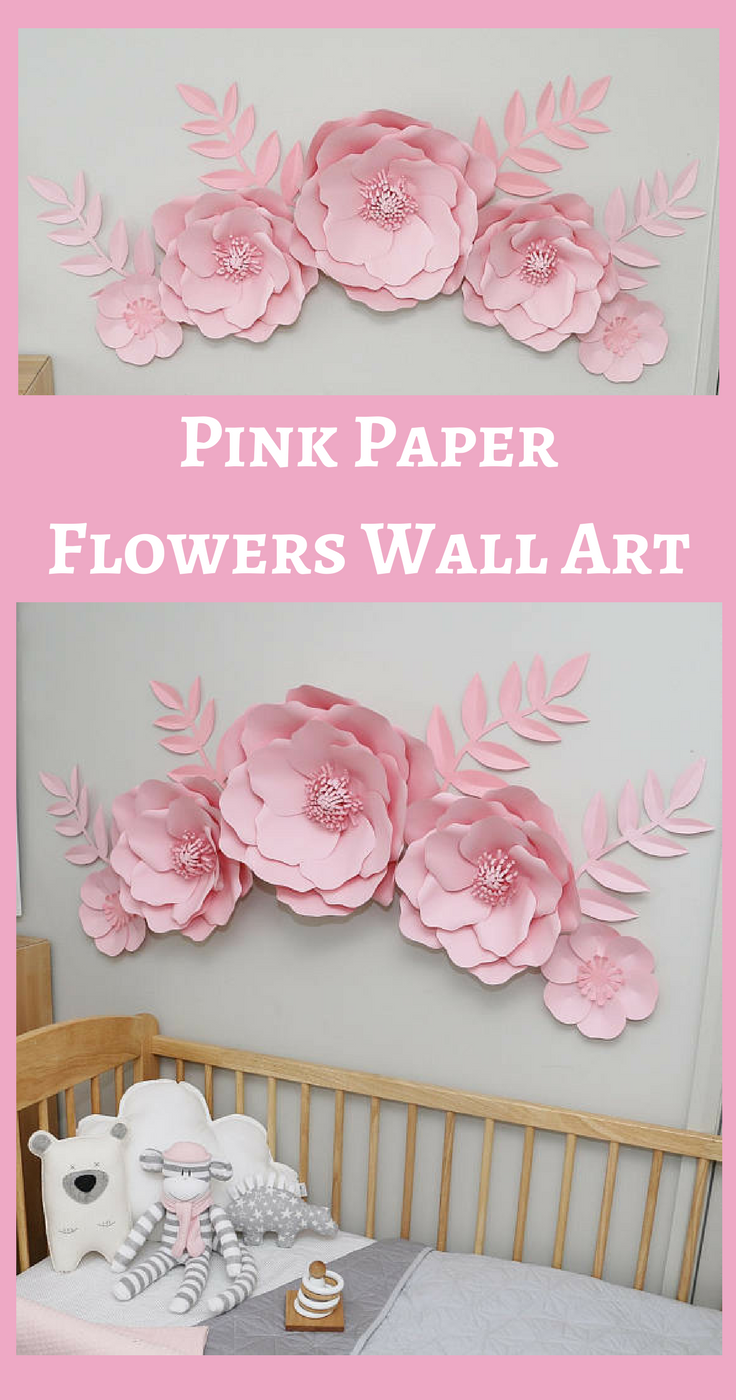 Pink paper flowers wall decor for girls nursery this makes it a