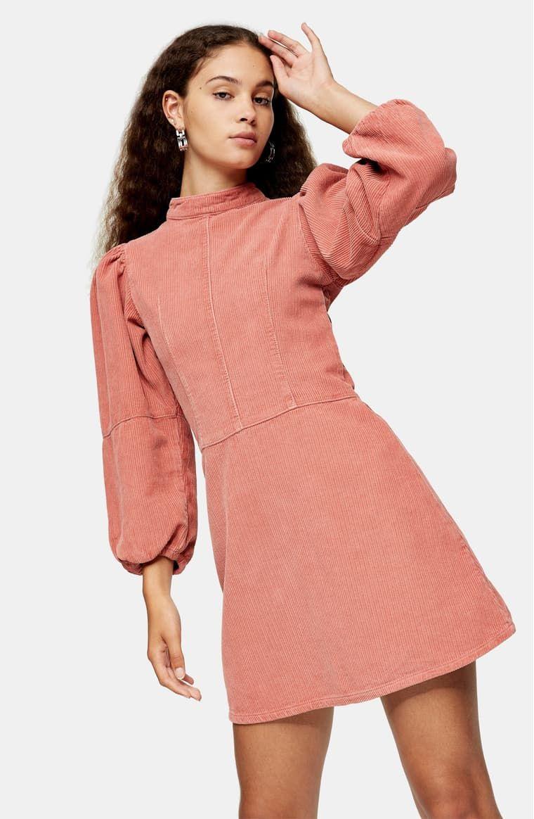 Topshop Long Sleeve Corduroy Babydoll Minidress Nordstrom Long Sleeve High Neck Dress Long Sleeve Babydoll Dress Blush Dresses Short [ 1164 x 760 Pixel ]
