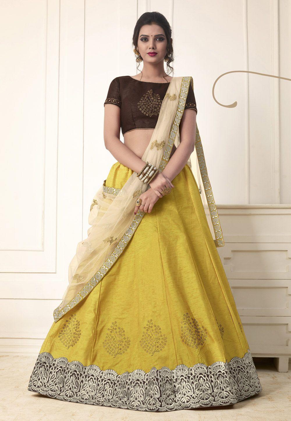 22cc5ce2f4 Buy Yellow Banglori Silk Lehenga Choli 154322 online at best price from  vast collection of Lehenga Choli and Chaniya Choli at Indianclothstore.com.