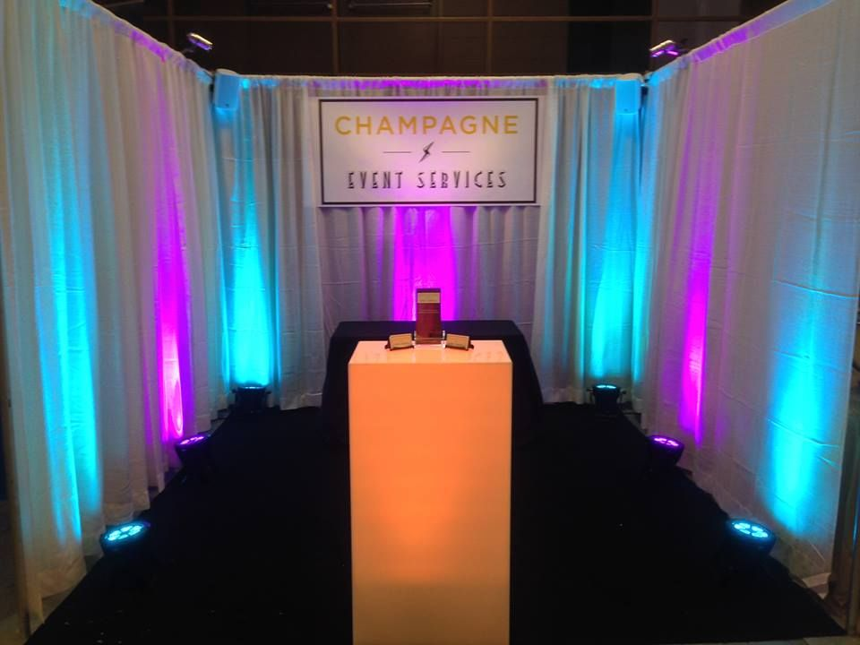 Uplighting at our Wedding Fesvital booth