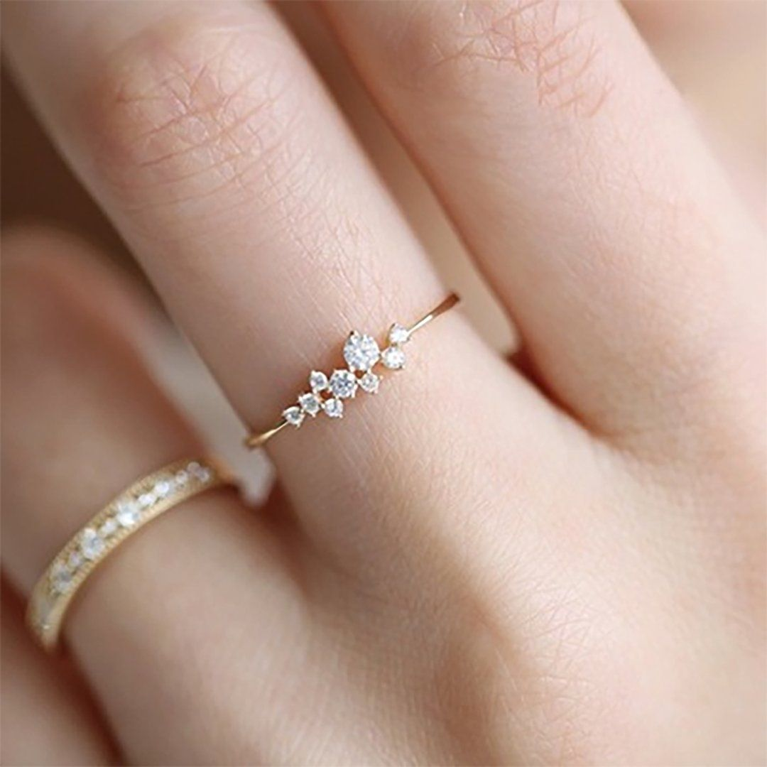 Photo of Juliana Simple Dainty Minimalist Crystal Cluster Ring