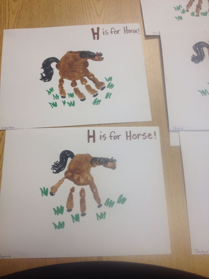 H Is For Horse Handprint Craft Farm Animal Crafts Wild