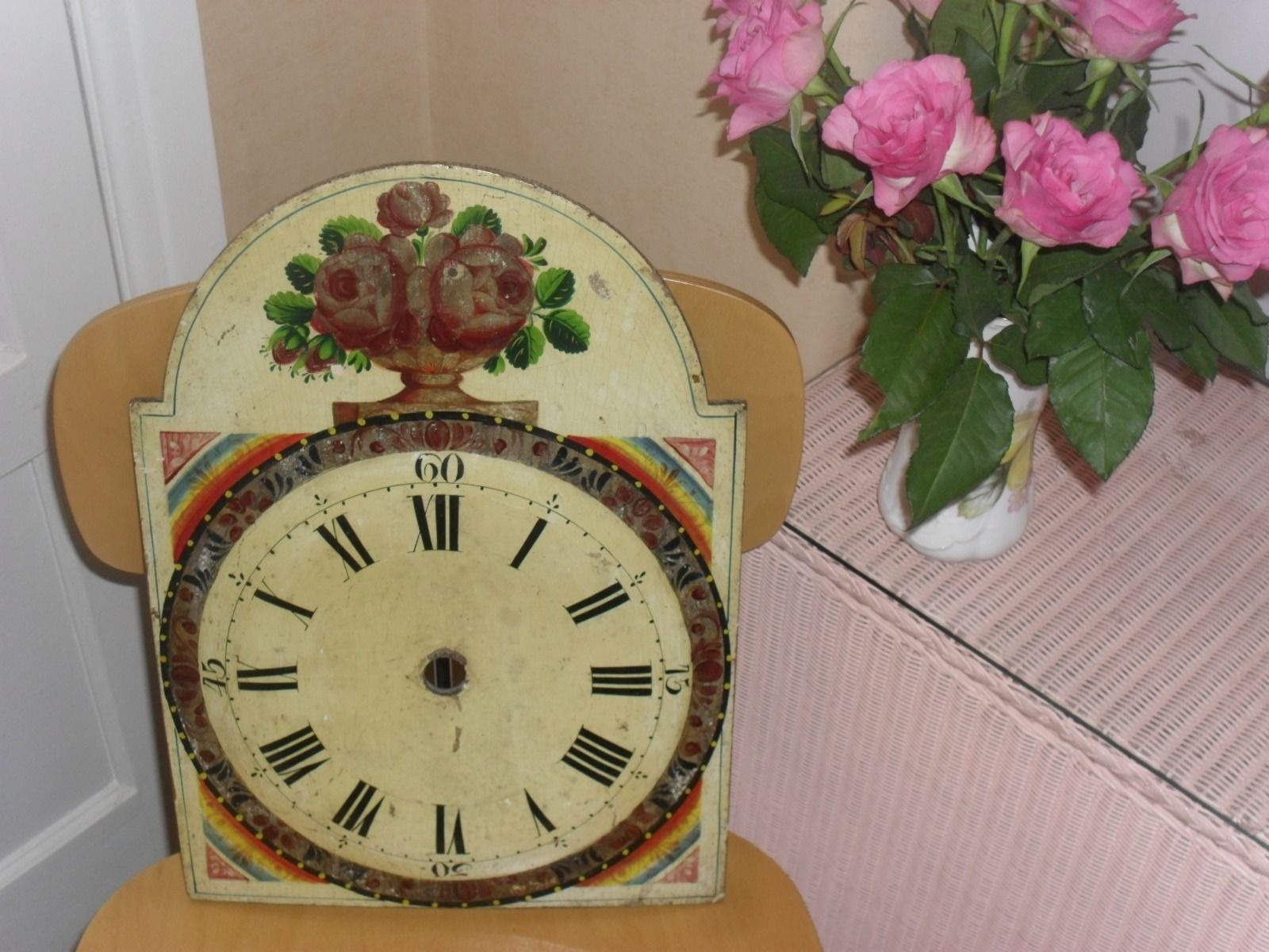 Large Black Forest Hand Painted Wooden Wall Clock Face. in Antiques, Antique Clocks, Clock Parts | eBay
