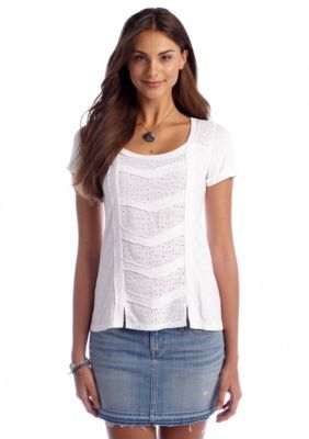 Lucky Brand Womens Glendale Woven Patchwork Tee