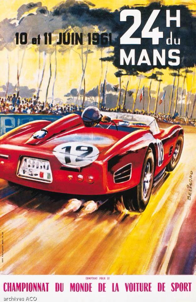 le mans 24h 1961 poster racing is life pinterest racing cars et vintage racing. Black Bedroom Furniture Sets. Home Design Ideas
