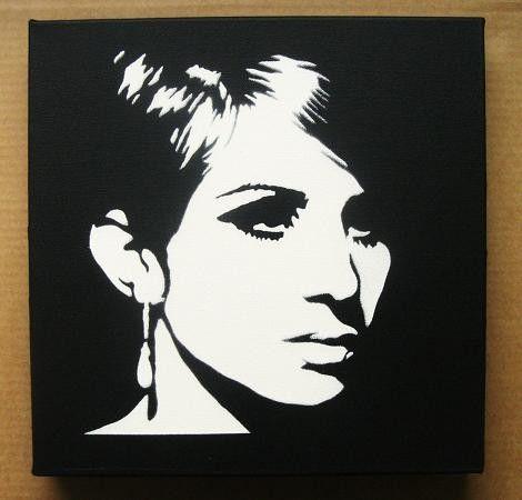 Barbra Streisand Stencil Graffiti On Canvas Spray By Domdoodle 20 00 Stencil Graffiti Pop Art Silhouette Wall Art