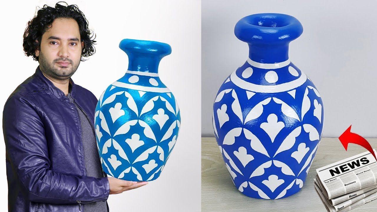 Big Size Corner Flower Vase Paper Flower Vase Home Decor Ideas Youtube Paper Flower Vase Handmade Flower Pots Paper Vase