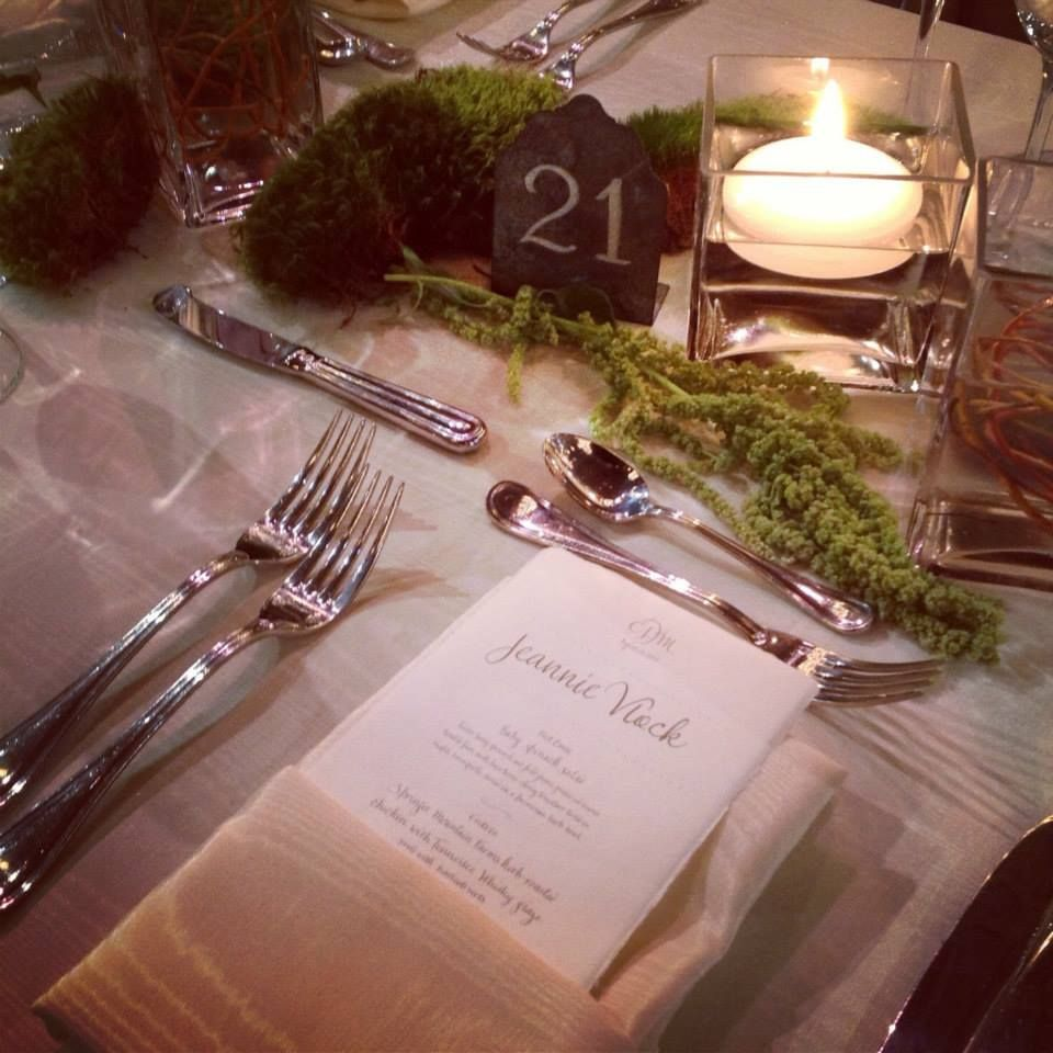 If you want a tranquil feel at your #wedding, try #green moss and candles. #events