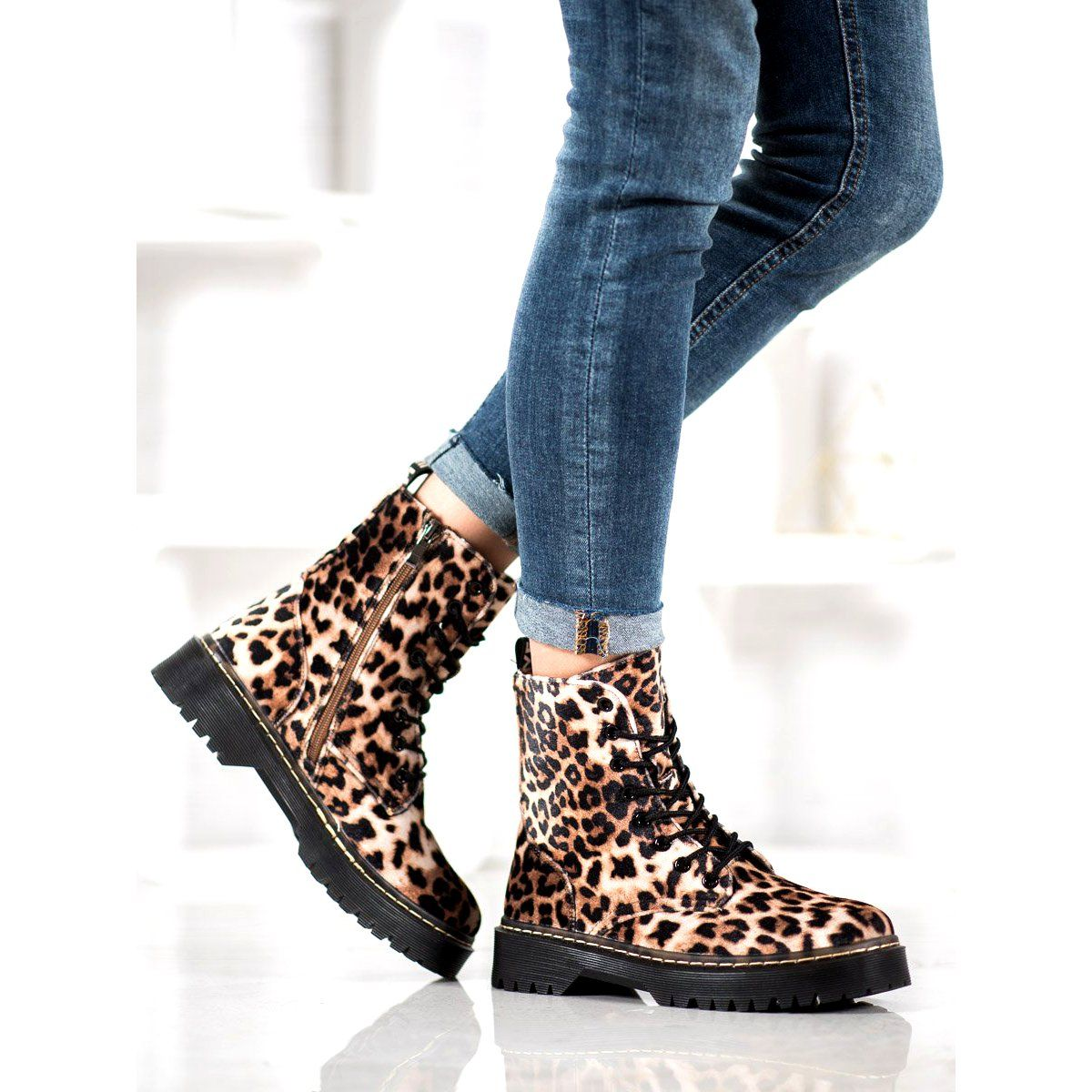 Shelovet Suede Workers Leopard Print Brown Boot Shoes Women Leopard Print Suede