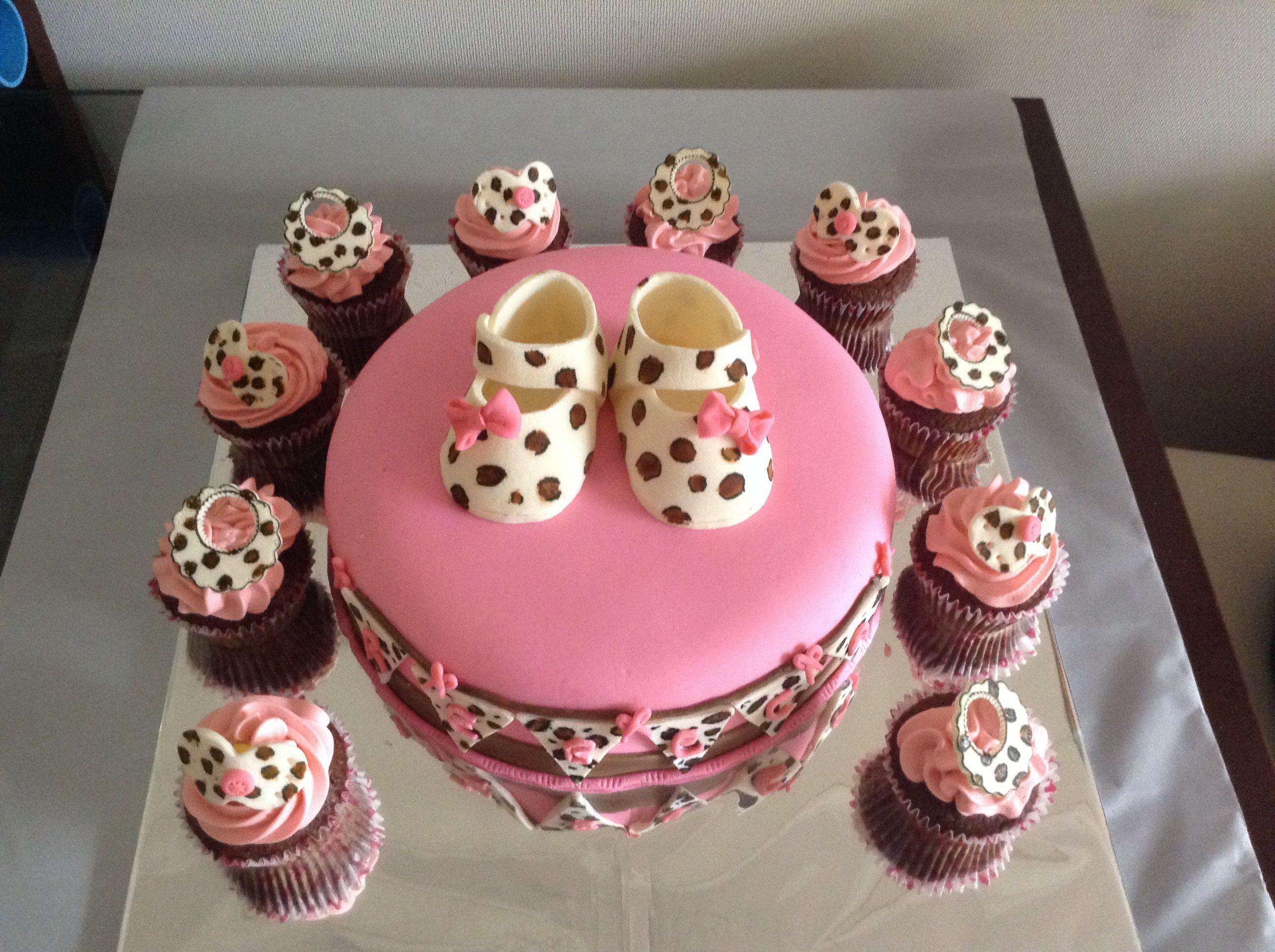 Baby shower girl animal print zapatito bebe Torta cupcake