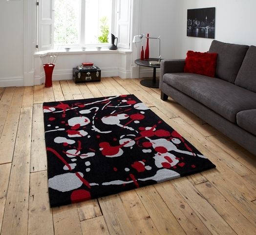 Bedroom Rug Large Soft Thin Funky Grey Red Splash Effect ...