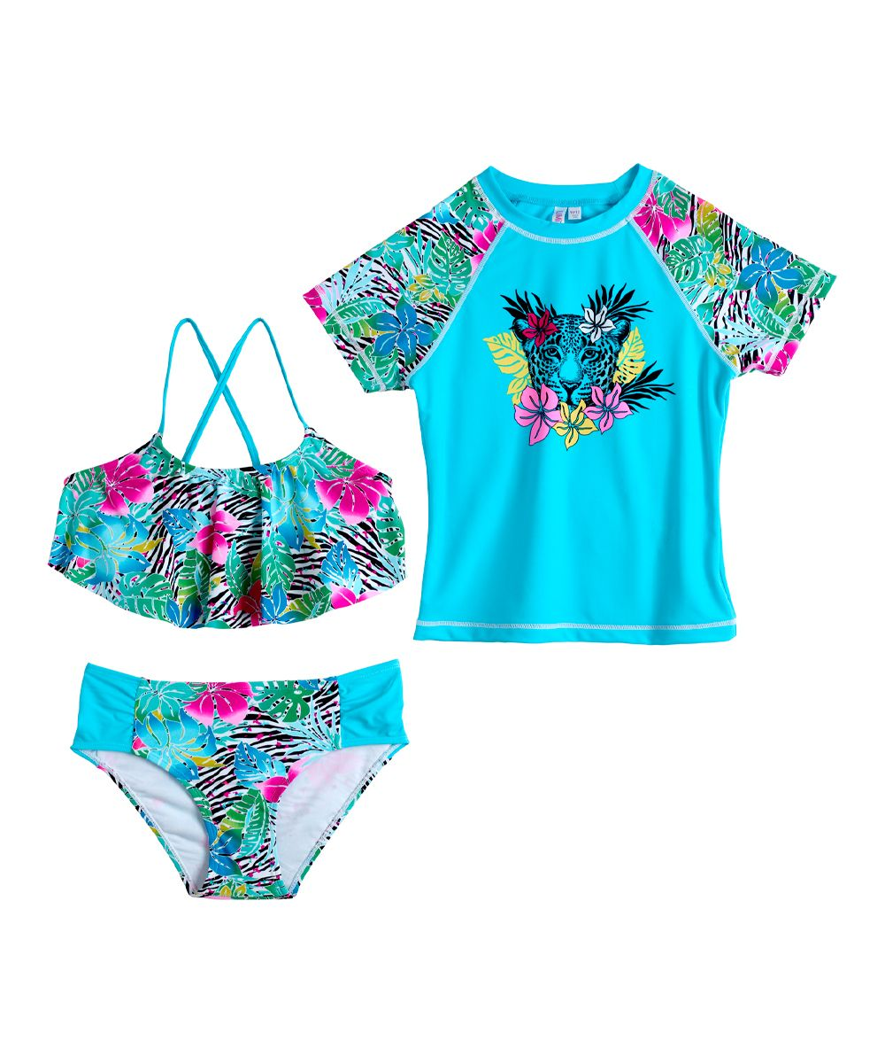 7bef52f347370 Turquoise Floral Leopard Rashguard Set - Toddler & Girls   Products ...