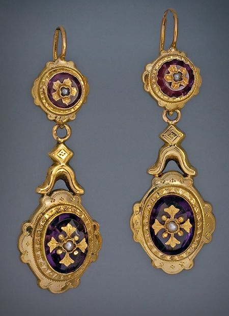Victorian Era Antique French 18K Yellow Gold, Amethyst and Pearl Drop Earrings, circa 1870. $2,900.00