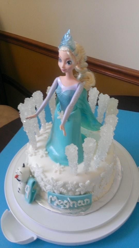 Queen Elsa Frozen doll cake snowflakes I made for girl birthday
