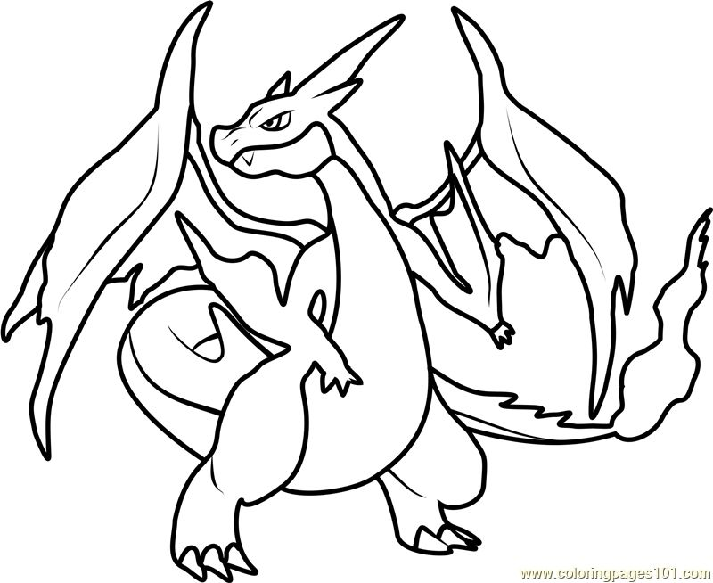 Mega Charizard Coloring Page Free Printable Coloring Pages