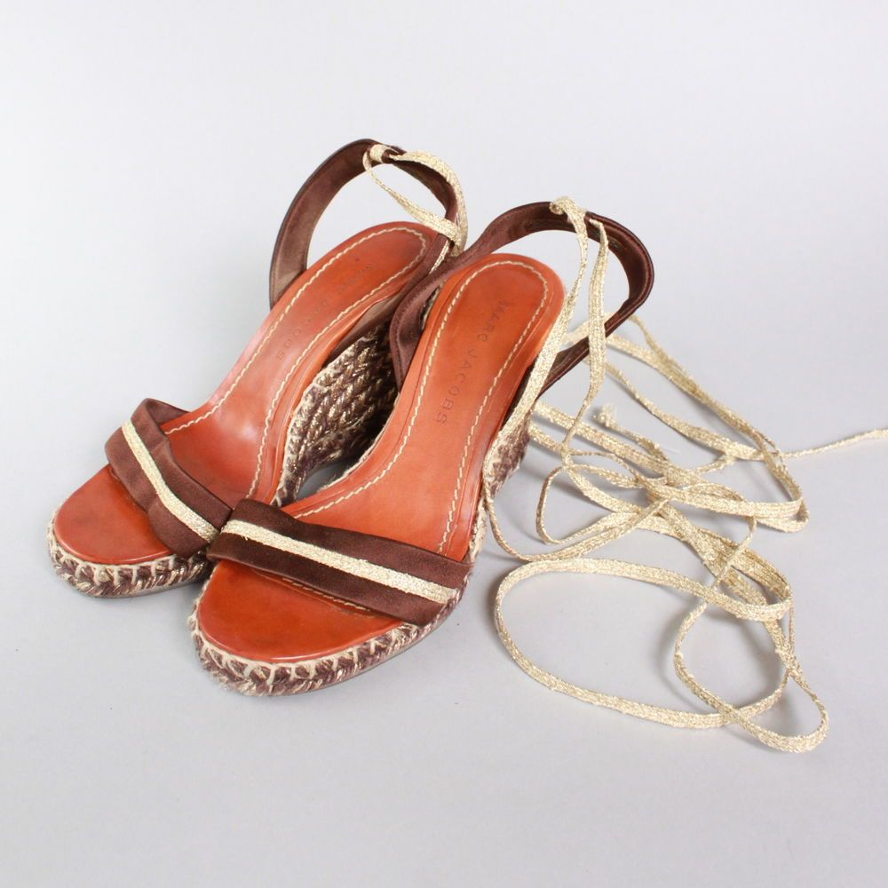 SS13 Marc Jacobs Ladies Brown and Gold Wedge Heel Sandals 36 #MarcJacobs #PlatformsWedges