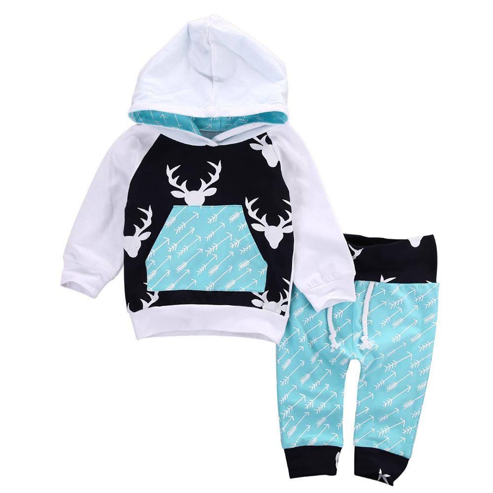 Deer Hooded Tops Cotton Long Pants Newborn Infant Baby Boys Girl Outfit Set Suit
