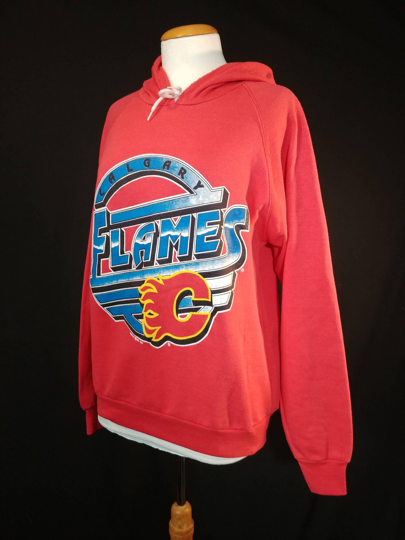 189c06a26 Vintage 1991 Calgary Flames Sweatshirt  Retro 90 s NHL Flames Hoodie by  RedPrairieVintage on Etsy