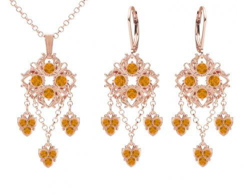 Lucia Costin Jewelry Set Pendant and Earrings Made in 24K Pink Gold Plated over 925 Sterling Silver Ornate with Yellow Swarovski Crystals Falling Chains Delicate Charms and Fancy Dots Handmade in USA *** Click on the image for additional details.(This is an Amazon affiliate link and I receive a commission for the sales)