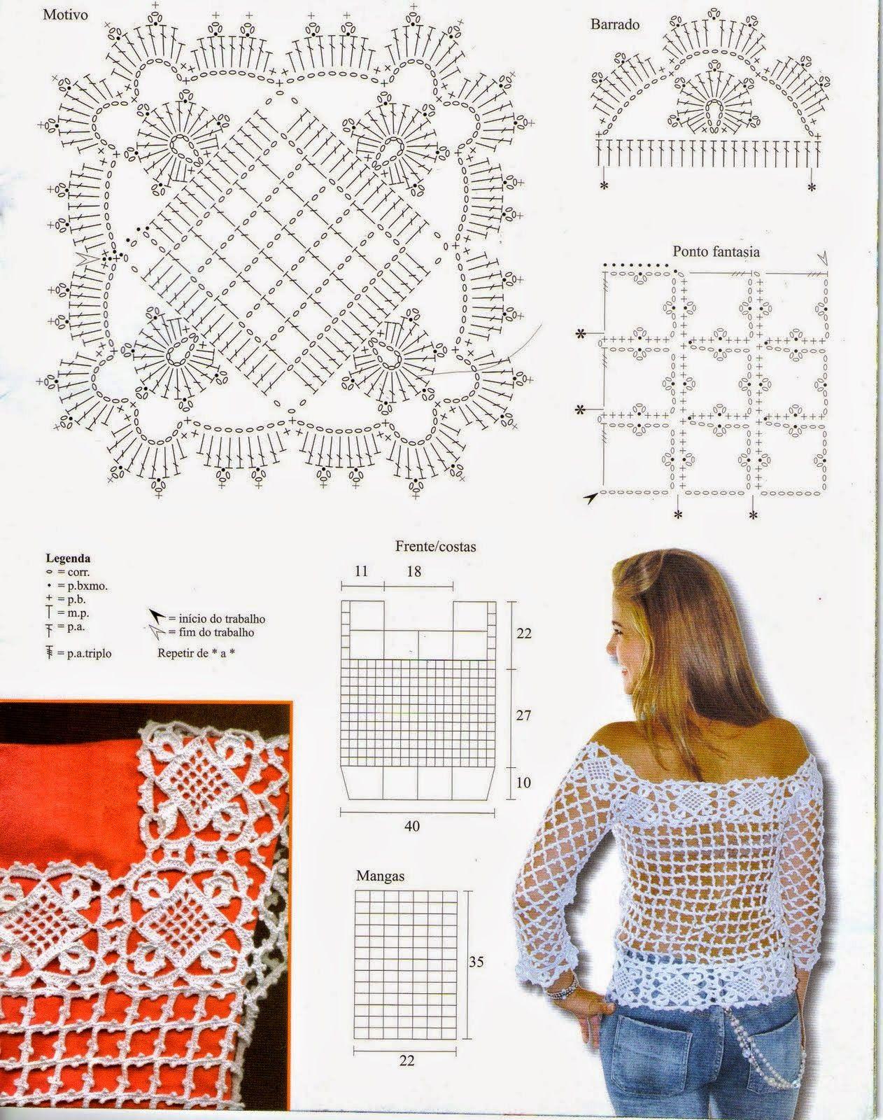 Blusa de crochê com treliça tam 42/44 crochê - gráficos | 1 Patrones ...