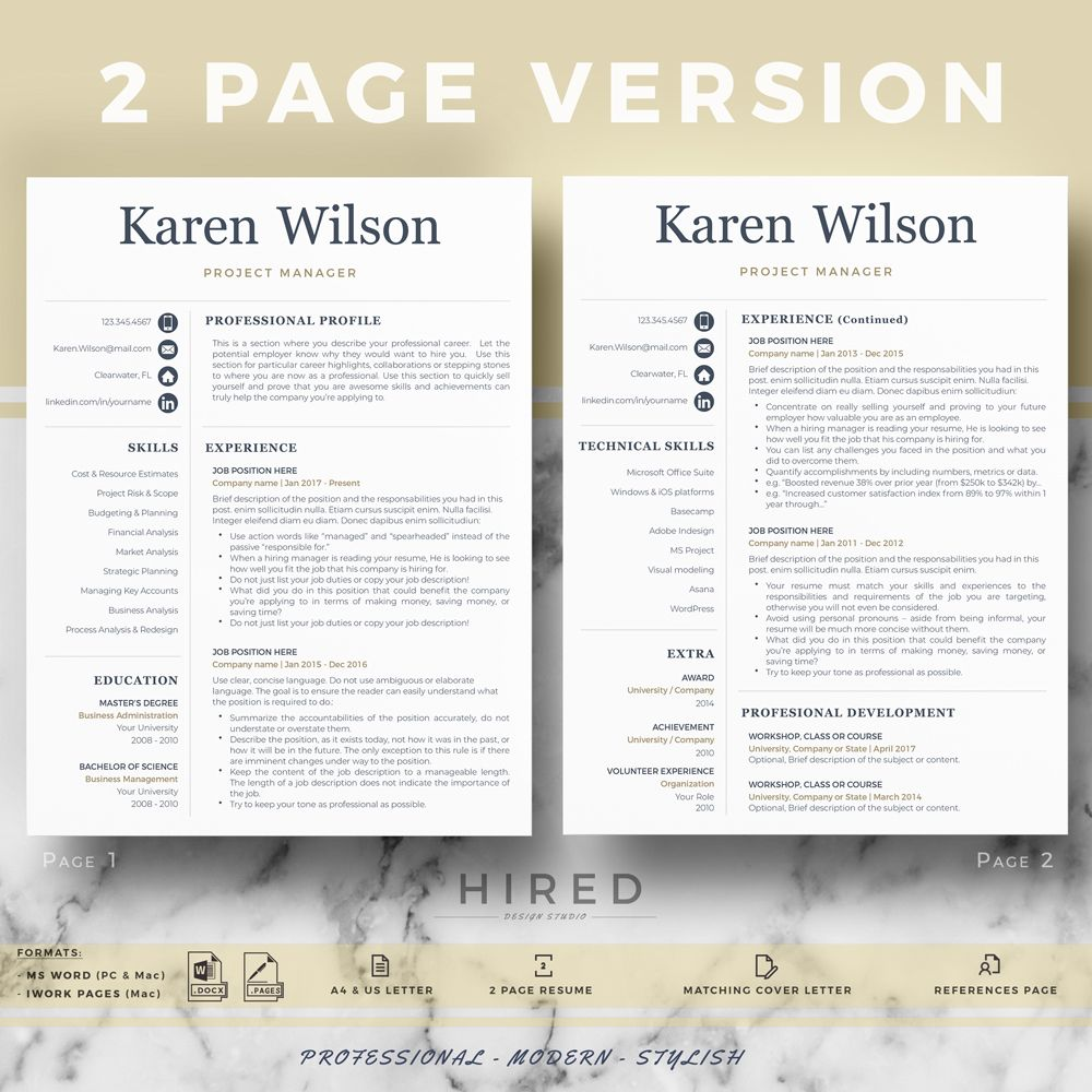 Project Manager Resume and Cover Letter format