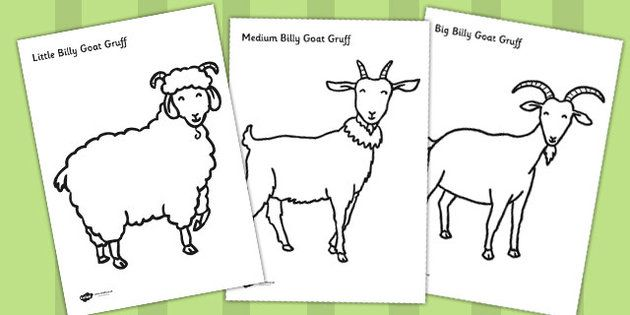 The Three Billy Goats Gruff Colouring Sheets Three Billy Goats