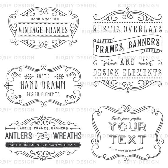 Rustic Frames Clipart Photoshop Overlay By BirDIYdesign