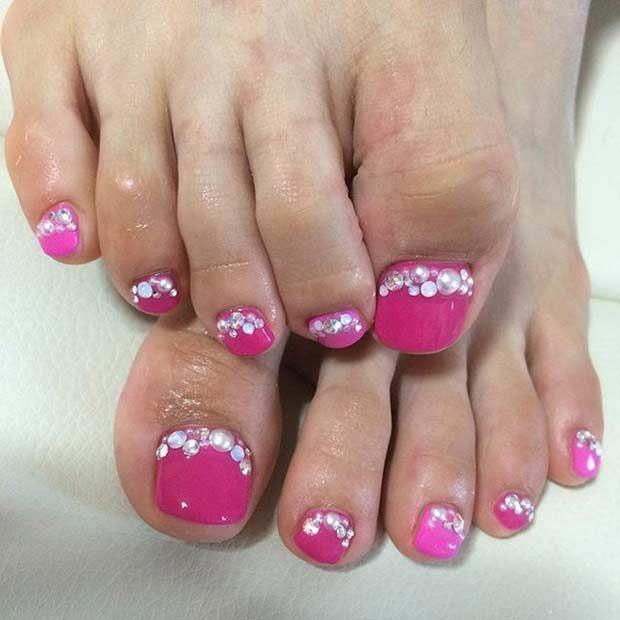 31 Easy Pedicure Designs for Spring - 31 Easy Pedicure Designs For Spring Pedicures, Pink Toe Nails