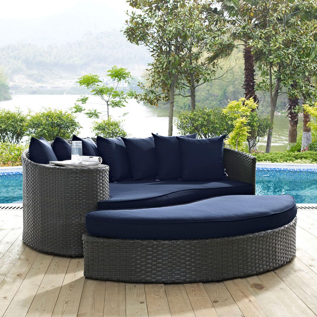 Modway sojourn 2 piece outdoor daybed set in a gray canvas navy finish eei 1982 chc nav outfit your patio with an imaginative outdoor sectional series of