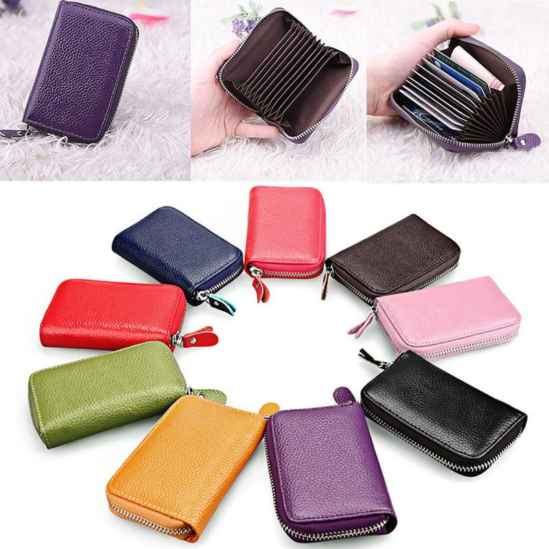 Mens Women Leather Credit ID Business Card Holder Organizer Pocket ...